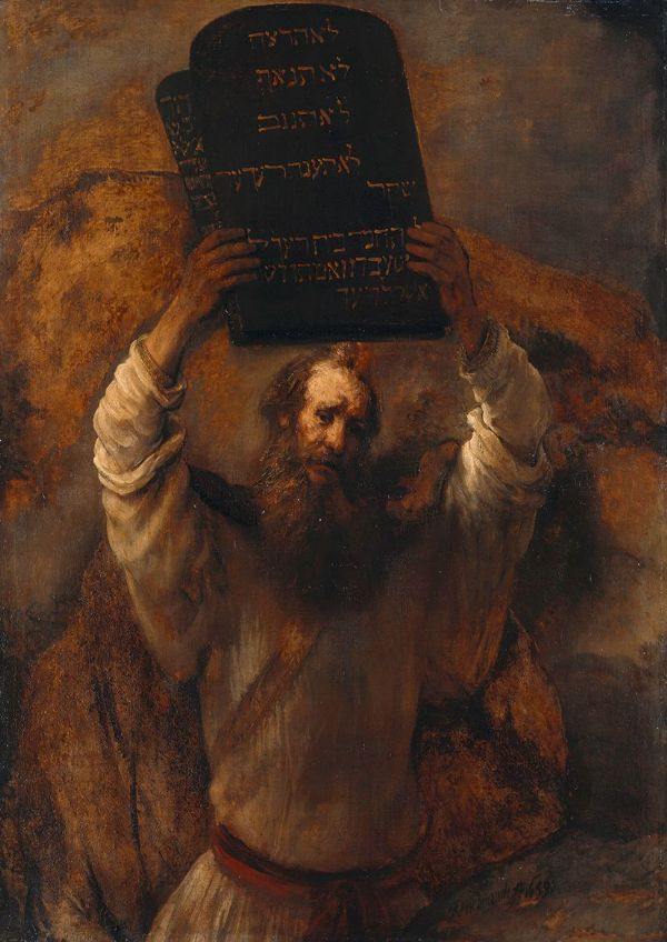 Rembrandt: Moses with the Ten Commandments. Fine Art Print/Poster. Sizes: A4/A3/A2/A1 (003904)